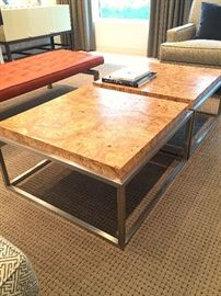 "Nova coffee tables custom finish ""Wormwood"" with Chrome base."