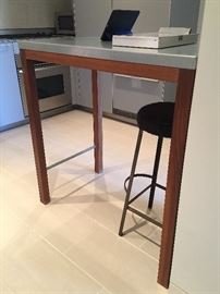 Custom Kitchen Table Fusion Home Fashion and Kitchen Bar Stool w/Custom cowhide cover.