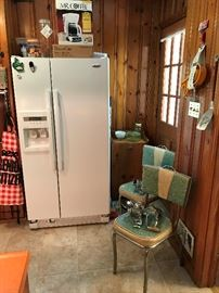 Whirlpool Refrigerator, Vintage Kitchen chairs