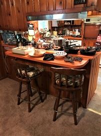 Bar Stools, Cast Iron Skillets, pots and pans, etc.