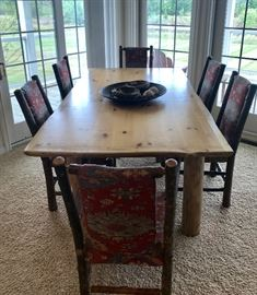 """Stunning!  Old Hickory, Shelbyville, IN furniture.  6 Chairs including one captain.  Table is 7'4"""" x 46"""".  GREAT condition!"""