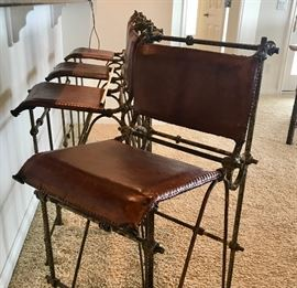 Ilana Goor Design from The Quiet Moose.  Up close of barstools to show the detail and quality of these awesome barstools.  Matching side chair available too.