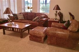 Living Room Set located in lower level - Chair and ottoman is from The Quiet Moose.  Gorgeous