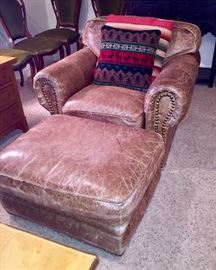 The Quiet Moose Leather Chair and Ottoman