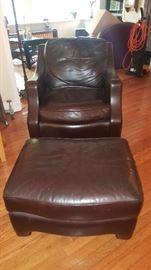 Thomasville Matching Fine Leather Chair & Ottoman