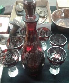 Ruby Red Cut to Clear Decanter Set