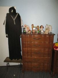 Dresser, figurines and clothing