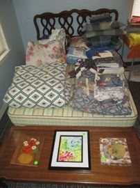 Full size bed, bedding, pictures