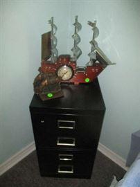 File cabinet, ship clock, bookends