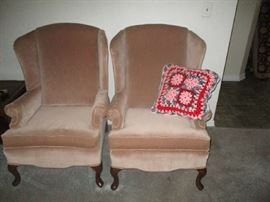 Wing back chair pair of