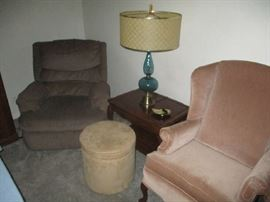 Recliner, end table and lamp