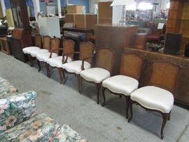 Set of 8 dining room chairs with cane back