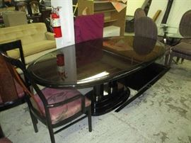 Black lacquer dining room table one leaf 8 chairs