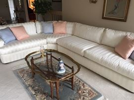 Ivory Sectional Couch - EXCELLENT condition! Brass and Rattan Coffee Table with Glass top, wool rug.
