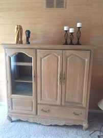 Entertainment Center / great as armoire too!  Wood Carved pieces and iron Candlesticks
