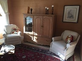 Entertainment Armoire, side wool upholstered arm chairs, wool persian area rug, art work, sculptures and more!