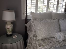 4 poster bed (with canopy available) - mattress set also - beautiful duvet set with pillows, cover and bedskirt