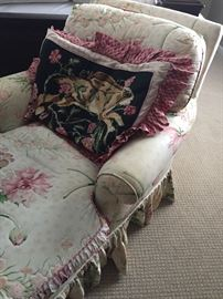 Chaise Lounger with Needlepoint pillow