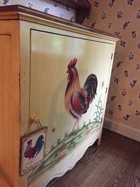 handpainted kitchen cabinet - wide hutch