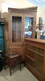 Victorian commode, display case and glass front hutch with wood shelves