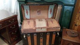 Inside of vintage trunk