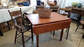 Drop leaf table top shows construction pegs, vintage split oak basked, beautiful vintage high chair