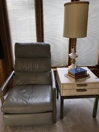 Mid Century Modern leather recliner with chrome, Mid Century Modern floating table with chrome