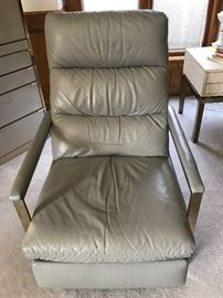 Mid Century Modern Leather recliner with chrome