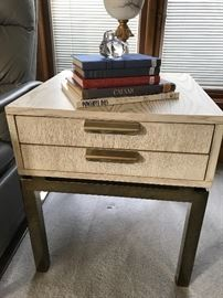 Mid Century Modern floating end table with chrome