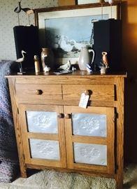 Modern pie safe carved birds, country print, stoneware
