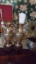 Antique sterling silver vases from china