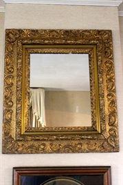 "Gold Gilt mirror-$75.00 small crack bottom left corner 32"" x 29"""