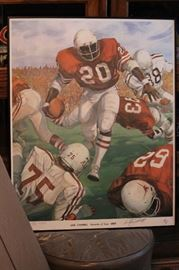 Earl Campbell litho signed by artist and Earl n