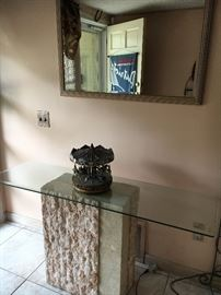 Glass and stone foyer table