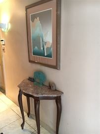 granite and wood demilune table