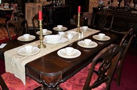 antique table set with lenox