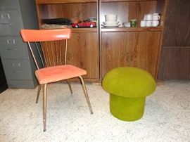 Mid century modern chair and mushroom stool