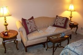 Camel back sofa with pair of matching end tables.
