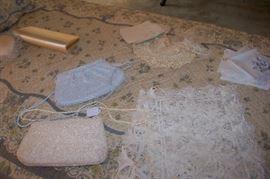 Evening purses, linens,  antique lace collars