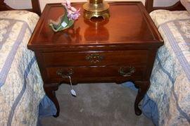Pretty two drawer mahogany side table