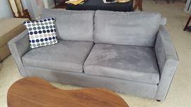 Crate & Barrel Axis II Microfiber Grey Sofa