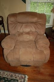 Suede leather swivel/rocker recliner - Cleveland Chair Company