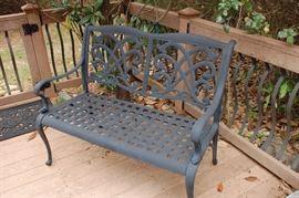 Black aluminum love seat