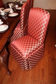8-custom upholstered, high backed dining room chairs,