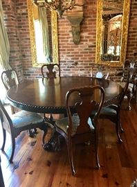 "Still available - Formal 72"" round dining table with 6 armless chairs and two captains chairs"