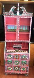 A very rare and fabulous painted secretary desk by listed artist Thom Bierdz.  It's a one of a kind piece!