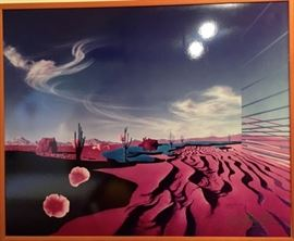 Surreal serigraph by listed artist Rick Garcia.  Signed and numbered.