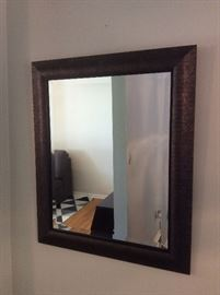 Wood frame beveled wall mirror