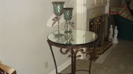 wonderful round heavy metal table with mirrored top