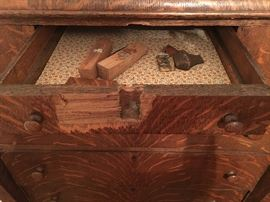 Very top center drawer of bureau in previous pic--repair needed